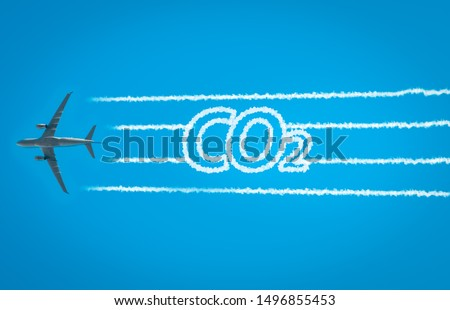 Airplane leaving jet contrails with CO2 word inside. Suitable for ecofriendly and sustainable journey concepts and the negative impact on the environment. #1496855453