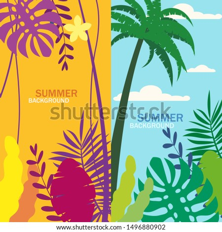 Set of summer backgrounds floral exotic plants leaves, banners, posters, cover design templates, social media stories wallpapers, vector isolated trendy flat cartoon style #1496880902