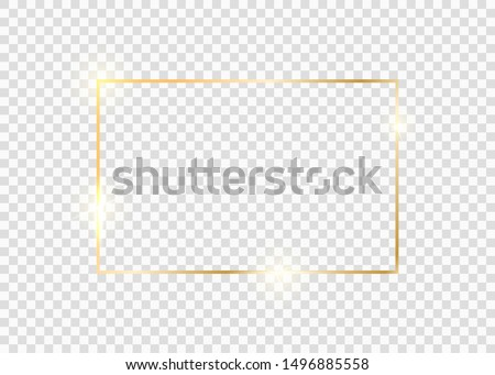 Gold square frame. Golden luxury glow line border. Gold shiny glowing vintage frame with shadows isolated on transparent background. #1496885558
