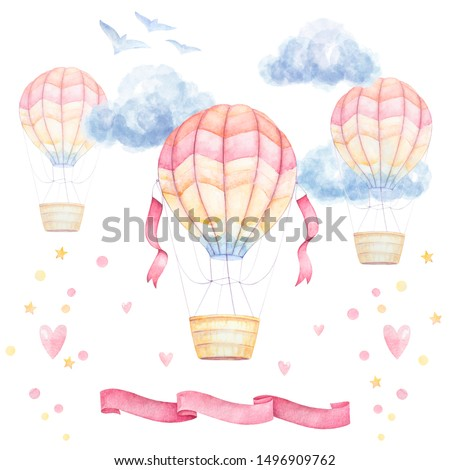 Watercolor baby clip art. Colorful Air balloons flying in sky, clouds, ribbons; hearts; birds. Kids prints. Nursery wall art.