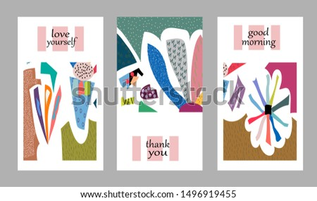 Set of creative universal cards. Designs for prints, banner, poster, placard, brochure, flyer, wedding, birthday, party invitations. #1496919455