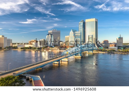 Jacksonville, Florida, USA downtown city skyline at dusk.