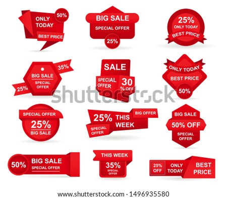 Set of red paper sale stickers. Tags best offer price and big sale pricing badges design. Limited sales offer label or store discount banner card isolated. Shopping coupon. Vector illustration. #1496935580