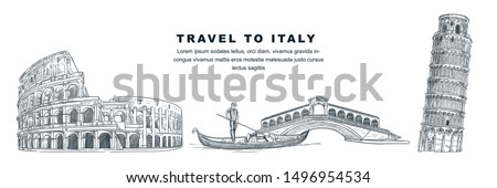 Travel to Italy hand drawn design elements. Vector sketch illustration of Colosseum, Leaning Tower of Pisa, Rialto Bridge. Rome, Venice, Pisa famous symbols isolated on white background. #1496954534