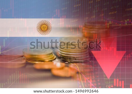 Argentina crisis economy stock exchange market down chart fall trading graph finance Fiscal deficit High inflation loan Argentina interest rate is high and effects of trade wars export import #1496992646