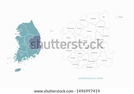 graphic vector of gyeongsang do map. south korea map. gyeongsang bukdo. daegu map. #1496997419