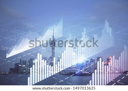 Forex chart on cityscape with tall buildings background multi exposure. Financial research concept. #1497013625