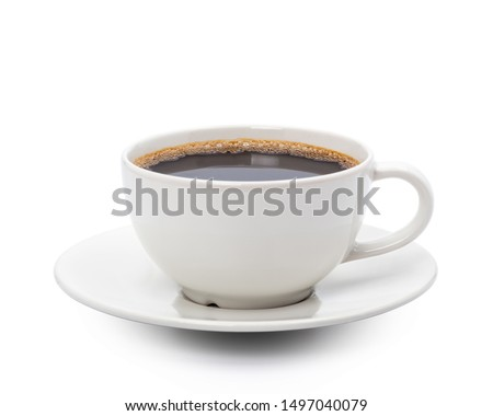 White cup of black coffee isolated on white background with clipping path #1497040079
