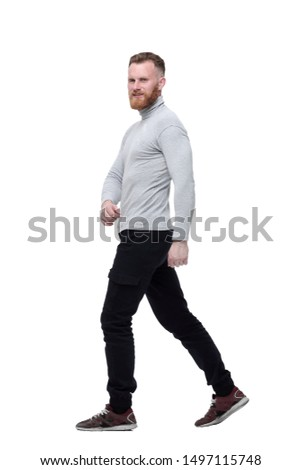 charismatic bearded man walks forward . isolated on white background #1497115748