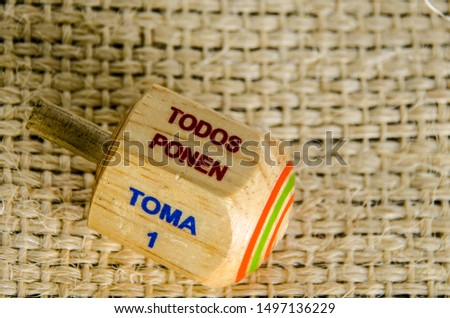 """Traditional pirinola mexican handcrafted wooden toy with titles in spanish """"take all, put one, put two, everyone puts"""" #1497136229"""