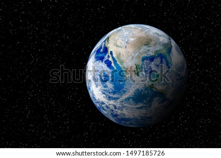 Blue planet earth globe view from space in night sky. (Elements of this image furnished by NASA.) #1497185726