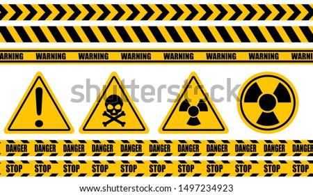 Warning label, warning tape, danger signs vector. Royalty-Free Stock Photo #1497234923
