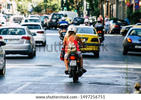 Athens Greece September 5, 2019 View of traffic circulation motorcycles in the streets of Athens in the morning #1497256751