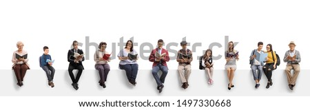 Old and young people sitting on a banner reading books isolated on white background #1497330668