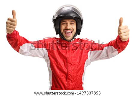 Cheerful racer with a helmet showing both thumbs up isolated on white background Royalty-Free Stock Photo #1497337853