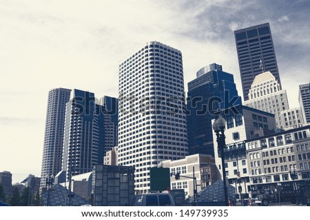 Grunge image of Boston Downtown skyline, Dark Art Painting of Boston Skyline
