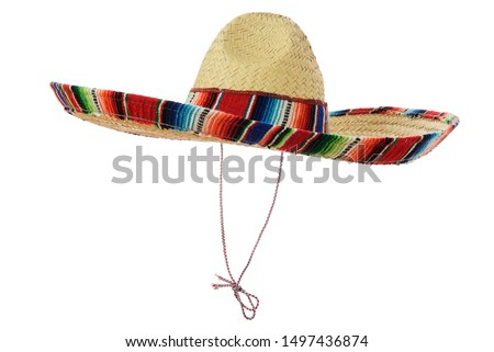 Mexican Sombrero isolated on a white background, 45 deg. view. #1497436874