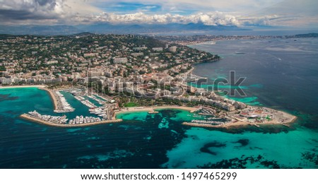 Cannes aerial view. Cote d'Azur, French Riviera from sky. Monte carlo, Monaco, Cannes, Nice. Provence and popular destination for travel in Europe. Mediterranean resort.  Provence-Alpes-Cote d'Azur. #1497465299