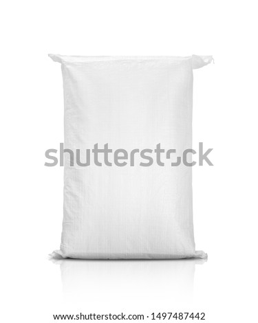 sand bag or white plastic canvas sack for rice or agriculture product isolated on white background #1497487442