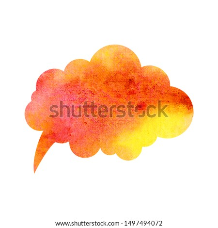 Orange and yellow watercolor blank speech bubble dialogue blank form on white background. Speech bubble hand drawn illustration. Isolated watercolor clipart. Text, place painted with watercolor.