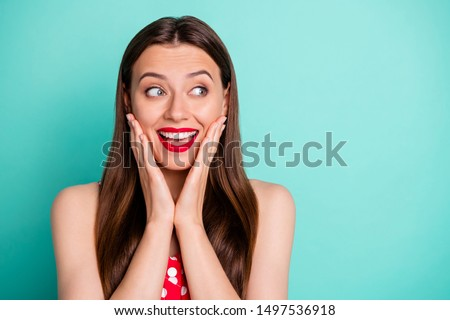 Close-up portrait of her she nice attractive lovely funny girlish cheerful glad straight-haired girl good news leisure expecting holiday isolated on green blue turquoise bright vivid shine background #1497536918