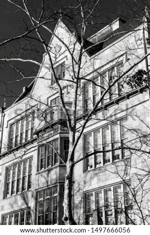 Facade of abeautiful, old-fashioned building, Manhattan, New York City, USA, black and white #1497666056