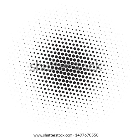 Comic background. Pattern with circles, halftone dotted backdrop. Radiating from the center starburst, sun burst rays, lines. Vector illustration #1497670550