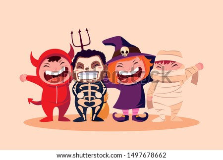 group cute childrens disguised for halloween