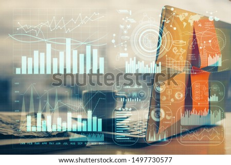Multi exposure of forex chart and work space with computer. Concept of international online trading. #1497730577