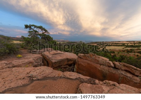 Early evening on top of a mesa in the American southwest with dry cracked ground and cracked sandstone ledges topped by juniper trees all under rows of cumulus clouds. #1497763349