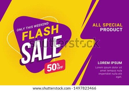 Flash sale discount banner template promotion Royalty-Free Stock Photo #1497823466