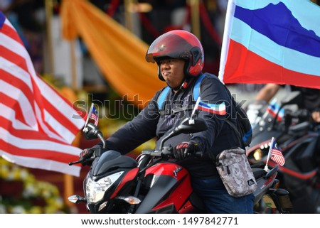 KOTA KINABALU, MALAYSIA - 31 AUG, 2019:The close up view of the parade contingent marching at the 62nd Independence day or Merdeka Day celebration of Malaysia in Kota Kinabalu, Sabah. #1497842771