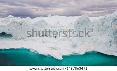 Greenland Iceberg landscape of Ilulissat icefjord with giant icebergs. Icebergs from melting glacier. Arctic nature. #1497863471