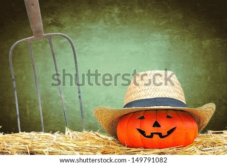 Halloween pumpkin in the farm with green background.