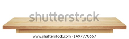 Light wooden tabletop. Table on white background. #1497970667