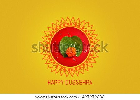 Happy Dussehra greeting card , green leaf,Rice #1497972686