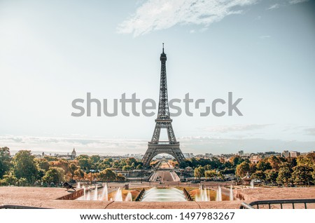 Eiffel Tower Street view, holiday sunrise, Paris 2018 #1497983267
