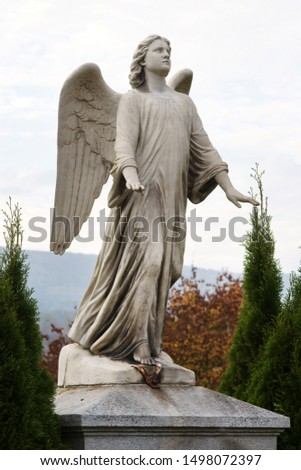 Angel on grave on church yard, upright format #1498072397