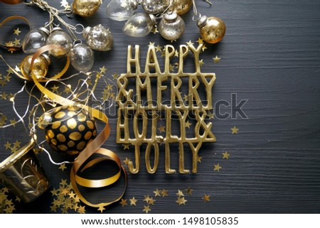 Golden Christmas ornaments and decorations #1498105835