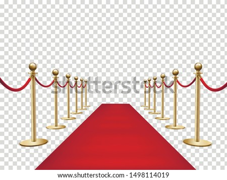 Red carpet and golden barriers realistic 3d vector illustration. VIP event, luxury celebration. Celebrity party entrance. Grand opening. Shiny fencing on transparent background. Cinema premiere Royalty-Free Stock Photo #1498114019
