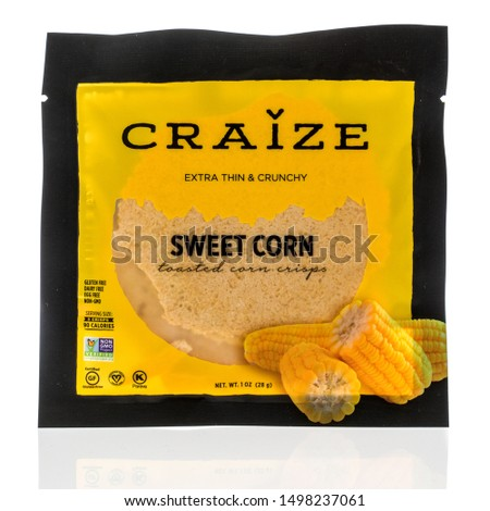 Wnneconne, WI - 3 September 2019:  A package of Craize sweet corn toasted corn crisps on an isolated background. #1498237061