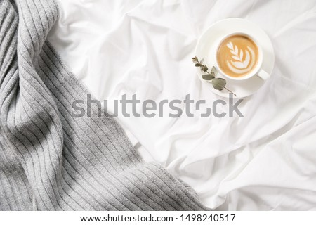 Cup of coffee in bed. Cozy autumn flatlay. Cappuccino and morning routine. Copy space. Concept minimalism #1498240517