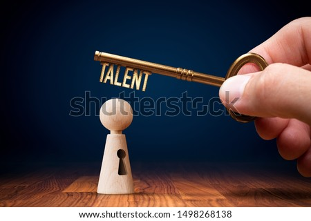 Key to unlock and open your talent and potential. Mentor, coach and another leading person has a key to open hidden talent. Talented human resources are very important for company success. Royalty-Free Stock Photo #1498268138