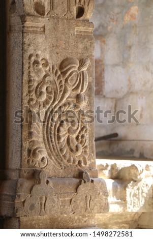 Stone carving Pillars in Hindu Temple #1498272581