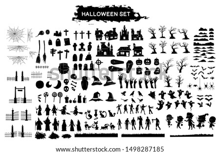Halloween silhouette character set collection for celebration, template and decoration