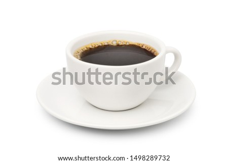 White cup of Hot black coffee isolated on white background. Clipping path #1498289732