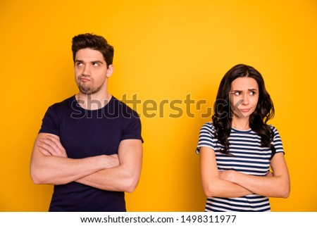 Portrait of his he her she nice attractive lovely offended angry sullen moody gloomy grumpy people thinking of divorce life crisis scolding pause isolated over bright vivid shine yellow background #1498311977