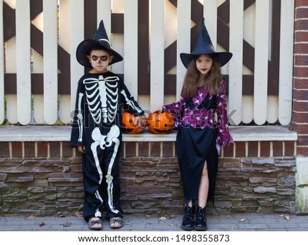 cute children, a boy in a skeleton costume and a girl in a witch costume celebrate Halloween with a pumpkin in a park near the house, Halloween party #1498355873