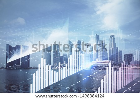 Forex chart on cityscape with tall buildings background multi exposure. Financial research concept. #1498384124