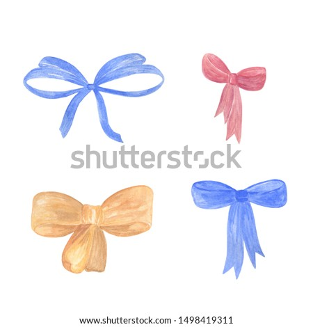 A set of watercolor bows, hand drawn multicolored isolated objects on the white background, simple ornament for holiday design, vintage and romantic style